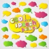 El discurso colorido de la colección burbujea con el movimiento coloreado del esquema Imagen de archivo