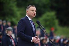 El discurso del presidente de la Rep?blica de Polonia Andrzej Duda en el cementerio militar polaco fotografía de archivo libre de regalías