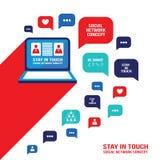 El discurso social del ordenador portátil del concepto de la comunicación de la red burbujea y los iconos del negocio Imagen de archivo