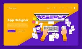 El diseñador plano del app del concepto de diseño del sitio web del diseño de la maqueta crea a stock de ilustración