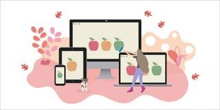 El diseñador web crea la página web responsiva ilustración del vector