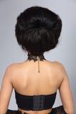 El diseñar del pelo da vuelta detrás a la visión, el talento creativo de la suposición compone y H imagenes de archivo