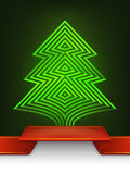El diseño abstracto del árbol de navidad raya la composición Imagen de archivo
