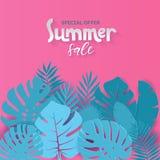 El diseño cuadrado de la bandera de la venta del verano con el papel cortó el fondo tropical de las hojas de palma con el qoute q libre illustration