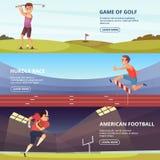 El diseño de banderas horizontales con la gente del deporte en la acción presenta stock de ilustración