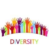 El diseño de concepto de la diversidad, manos conectó ilustración del vector