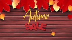 El diseño de la bandera del vector del texto de la venta del otoño con las hojas coloridas de la estación del otoño baja en el fo stock de ilustración