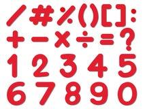 El diseño de la fuente para los números y firma adentro color rojo Imagen de archivo libre de regalías
