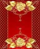 El diseño de la joyería con un oro se levantó Imagen de archivo libre de regalías