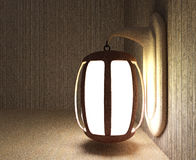 El diseño de la linterna en sitio de madera en 3D rinde imagen Fotos de archivo libres de regalías