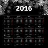 El diseño 2016 de la plantilla del calendario con la imagen del jefe comienza lunes Fotos de archivo libres de regalías