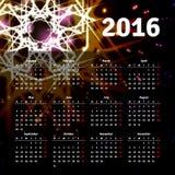 El diseño 2016 de la plantilla del calendario con la imagen del jefe comienza lunes Imágenes de archivo libres de regalías
