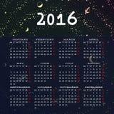 El diseño 2016 de la plantilla del calendario con la imagen del jefe comienza lunes Foto de archivo libre de regalías