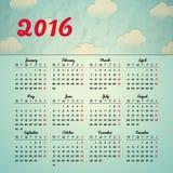 El diseño 2016 de la plantilla del calendario con la imagen del jefe comienza lunes Imagen de archivo