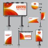 El diseño de la publicidad al aire libre del vector para la compañía con los elementos de los círculos de color de la bandera de  ilustración del vector
