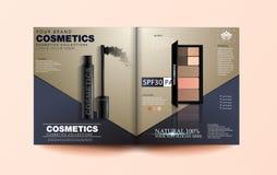 El diseño de la revista de la belleza, sombreador de ojos fijó en la plantilla del ejemplo 3d, de la revista o del folleto del ca stock de ilustración