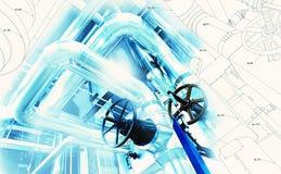 El diseño de la tubería del bosquejo se mezcló con la foto del equipo industrial Fotos de archivo libres de regalías
