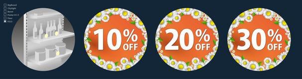 El diseño de los wobblers para la promoción es una venta de la primavera de margaritas brillantes en un fondo anaranjado Descuent Imágenes de archivo libres de regalías