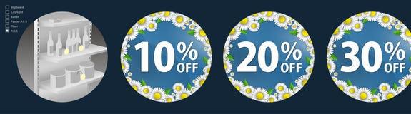 El diseño de los wobblers para la promoción es una venta de la primavera de margaritas brillantes en un fondo del azul de cielo D Imagen de archivo libre de regalías