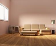 El diseño de madera interior de la sala de estar y del sitio de los muebles en 3D rinde imagen stock de ilustración