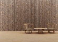El diseño de madera interior de la tabla y de la silla en 3D rinde imagen Imagenes de archivo