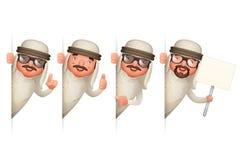 El diseño de personaje de dibujos animados realista árabe lindo del hombre 3d de Look Out Corner del hombre de negocios aisló el  ilustración del vector