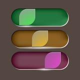 El diseño deja el botón en fondo marrón Imágenes de archivo libres de regalías