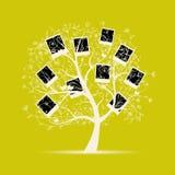 El diseño del árbol de familia, inserta sus fotos en marcos Imágenes de archivo libres de regalías