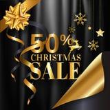 El diseño del cartel de la bandera de la venta de la Navidad con el 50% en color de oro en negro arruga el fondo del paño con el  libre illustration