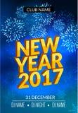 El diseño del cartel del partido del Año Nuevo con los fuegos artificiales se enciende Plantilla del aviador del disco del Año Nu Foto de archivo libre de regalías