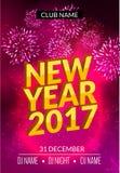 El diseño del cartel del partido del Año Nuevo con los fuegos artificiales se enciende Plantilla del aviador del disco del Año Nu Imágenes de archivo libres de regalías