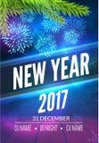 El diseño del cartel del partido del Año Nuevo con los fuegos artificiales se enciende Plantilla del aviador del disco del Año Nu Fotos de archivo