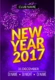 El diseño del cartel del partido del Año Nuevo con los fuegos artificiales se enciende Plantilla del aviador del disco del Año Nu Imagen de archivo