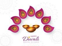 El diseño del día de fiesta del festival de Diwali con el papel cortó el estilo del indio Rangoli y del diya - lámpara de aceite