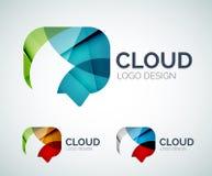El diseño del logotipo de la nube de la charla hecho de color junta las piezas Fotografía de archivo