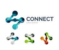 El diseño del logotipo del icono de la conexión hecho de color junta las piezas ilustración del vector