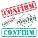 El diseño del sello de goma CONFIRMA Fotografía de archivo libre de regalías