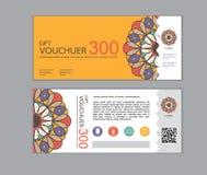 El diseño del vector del vale de regalo fijó 2 Imágenes de archivo libres de regalías