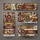 El diseño determinado de la identidad corporativa con garabatos da tema ruso exhausto de la comida Foto de archivo