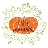 El diseño dibujado mano feliz del otoño del logotipo de la calabaza adornó el ornamento y la verdura románticos verdes Imagen de archivo libre de regalías