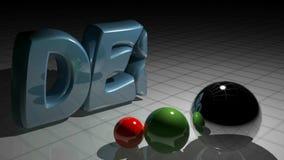 El DISEÑO escribe crece cerca de tres esferas coloreadas - vídeo de la representación 3D