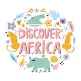 El diseño exhausto de la mano descubre África con los animales y los elementos decorativos stock de ilustración
