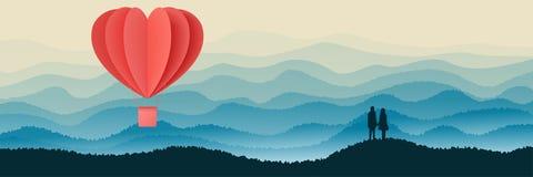 El diseño feliz del ejemplo del vector de la tipografía de día de San Valentín con papiroflexia roja de la forma del corazón del  ilustración del vector