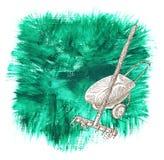 El diseño fijó con el rastrillo y la carretilla en fondo verde libre illustration