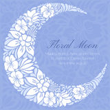 El diseño floral adornó la luna creciente Fotografía de archivo libre de regalías