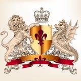 El diseño heráldico con el león del escudo y el dragón para el vintage diseñan Imagenes de archivo