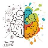 El diseño humano de las funciones del cerebro de la mente de izquierda a derecha ilustración del vector