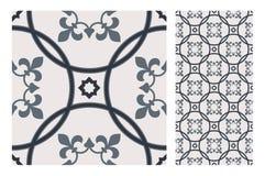 El diseño inconsútil antiguo del vintage modela las tejas en el ejemplo del vector Imagen de archivo libre de regalías