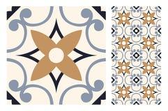 El diseño inconsútil antiguo del vintage modela las tejas en el ejemplo del vector Imagen de archivo