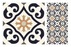El diseño inconsútil antiguo del vintage modela las tejas en el ejemplo del vector Fotos de archivo